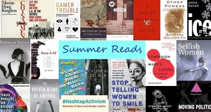"Blue text in the center says ""Summer Reads"" surrounded by a collage of book covers."