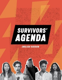 "Orange and yellow cover with ""Survivors Agenda"" written in bold white font on a black rectangle. A group of people appear at the bottom in black and white photos."