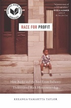 "Sepia tint book cover depicting a young Black child sitting on stone steps in front of a building. The text reads ""Race for Profit"" over the image."