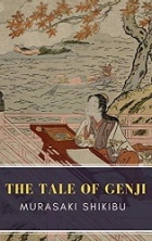 "Book cover featuring Japanese-style art depiction of a woman wearing a kimono near the sea. The words ""The Tale of Genji"" appear in gold letters."