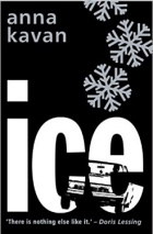 "Black book cover with large white letters that says ""Ice."" Two large snowflakes appear in the upper right corner."