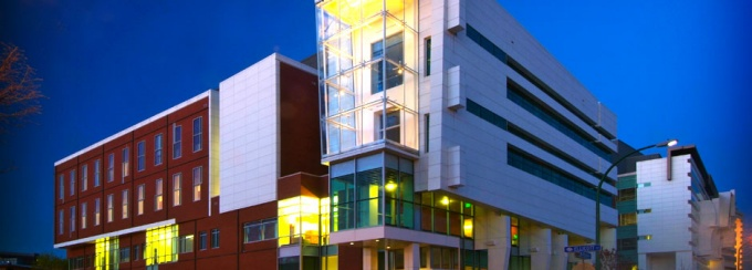An image of the New York State Center of Excellence in Bioinformatics Life Sciences on UB's downtown campus