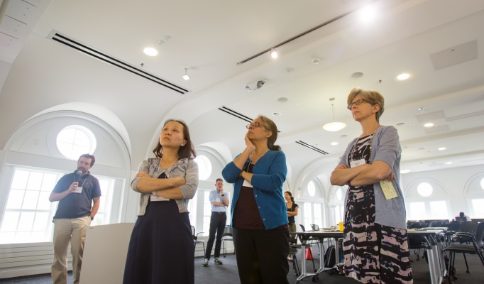 Faculty members Janet Yang (communications), Sharmistha Baghchi-Sen (geography), and Kasia Kordas (epidemiology) at the Air Quality Ideas Lab.