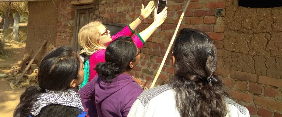 Nicole and team inspecting a wall in India, January 2018