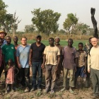 Geophysics research team with farmers from Kparigu, Northern Region after electromagnetic surveying and soil monitoring.