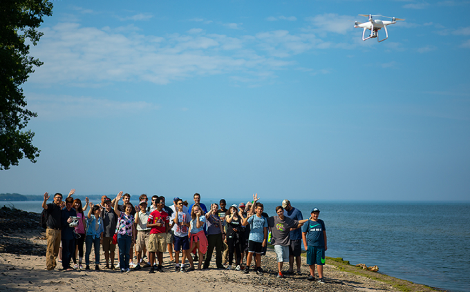 students and teachers at UB engineering summer camp at Cradle Beach getting hands-on GIS experience in the field.