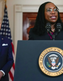 Picture of Kamala Harris being sworn in as Vice President, smiling.