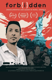Film Poster for Forbidden. Image of a man with the statue of liberty in the background.