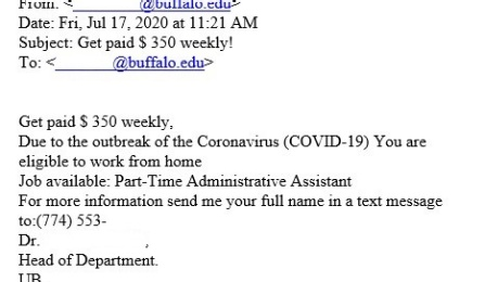 Scam emailed job offer for part-time administrative assistant sent to a UB email.