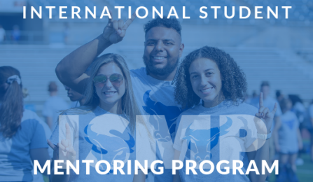 "Three UB students smiling with text that reads ""International Student Mentoring Program""."