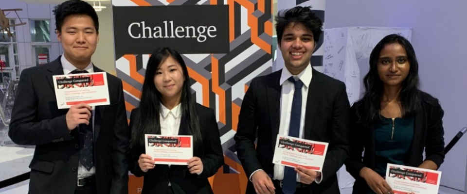 A diverse team of University at Buffalo School of Management undergraduates—representing three majors and four countries—took first place in the 16th annual PwC Challenge, which tests students' critical-thinking, teamwork and presentation skills.