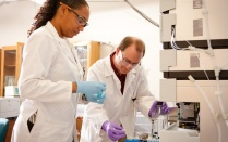 Lab of Chemistry professor Troy Wood and Post Doctorate student Charmion Cruickshanks in Wood's Natural Sciences Complex Lab.