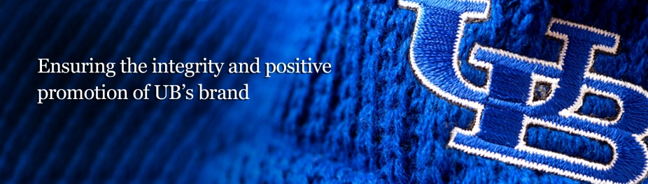 "Photo of a blue knitted scarf with an embroidered UB on it. Copy reads, ""Ensuring the integrity and positive promotion of UB's brand."""