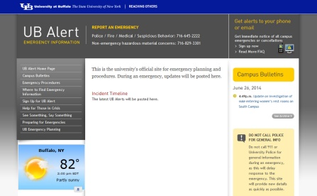 UB's Emergency website.