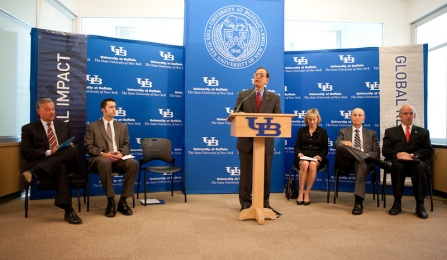 Press conference by President Tripathi for a record $40 million gift to the medical school.
