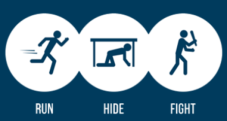 run hide fight active shooter icon.