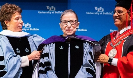 President Tripathi with Ruth Bader Ginsburg.