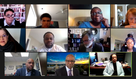 President's Advisory Council on Race Community Dialogue Zoom Screen.