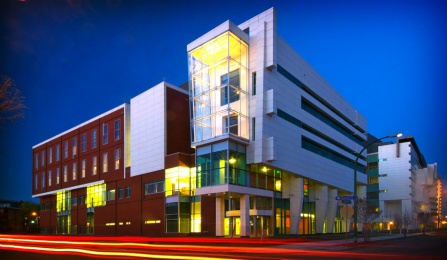 An image of the New York State Center of Excellence in Bioinformatics Life Sciences on UB's downtown campus.