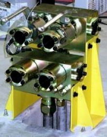 MTS low flow hydraulic distribution manifold.