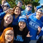 Students cheer on our UB Bulls during Homecoming and Family Weekend.