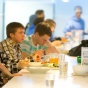 students enjoy campus dining.