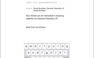 screen shot of email to send to students who have opted in to Study Buddies.