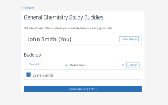 screen shot of page to email other students who have opted in to Study Buddies.