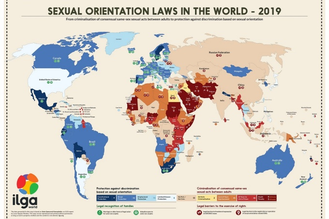 Map of sexual orientation laws around the world.