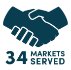 34 Markets Served.