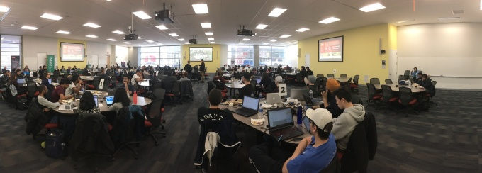 wide angle view of the participants at the region's first Blockchain Buildathon.