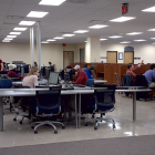 Students seated at computers in a lab similar to Capen 3