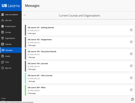Screen shot of the Messages page in Ultra Base Navigation.