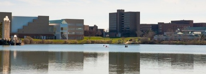 view of the academic spine from across Lake LaSalle.