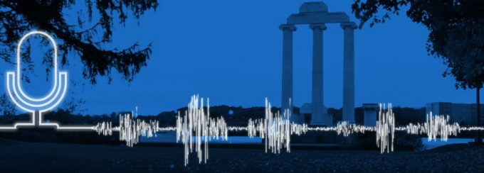 Podcast concept featuring a microphone and sound wave superimposed over an image of Baird Point.